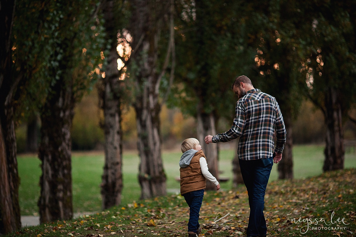 Neyssa Lee Photography, Snoqualmie Family Photographer, Fall Family Photos, Father and Son Walking together