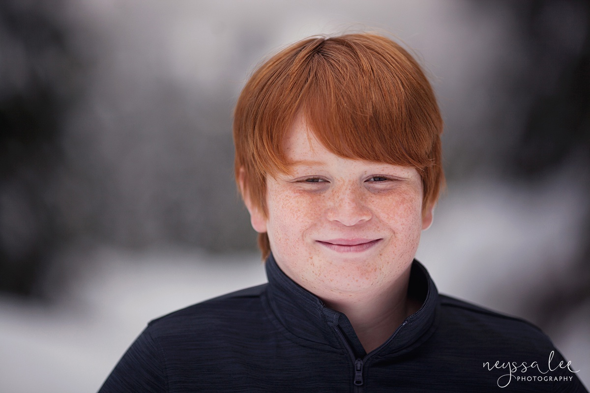 Neyssa Lee Photography, Snoqualmie Family Photographer, Family photos in the snow, Classic boy portrait