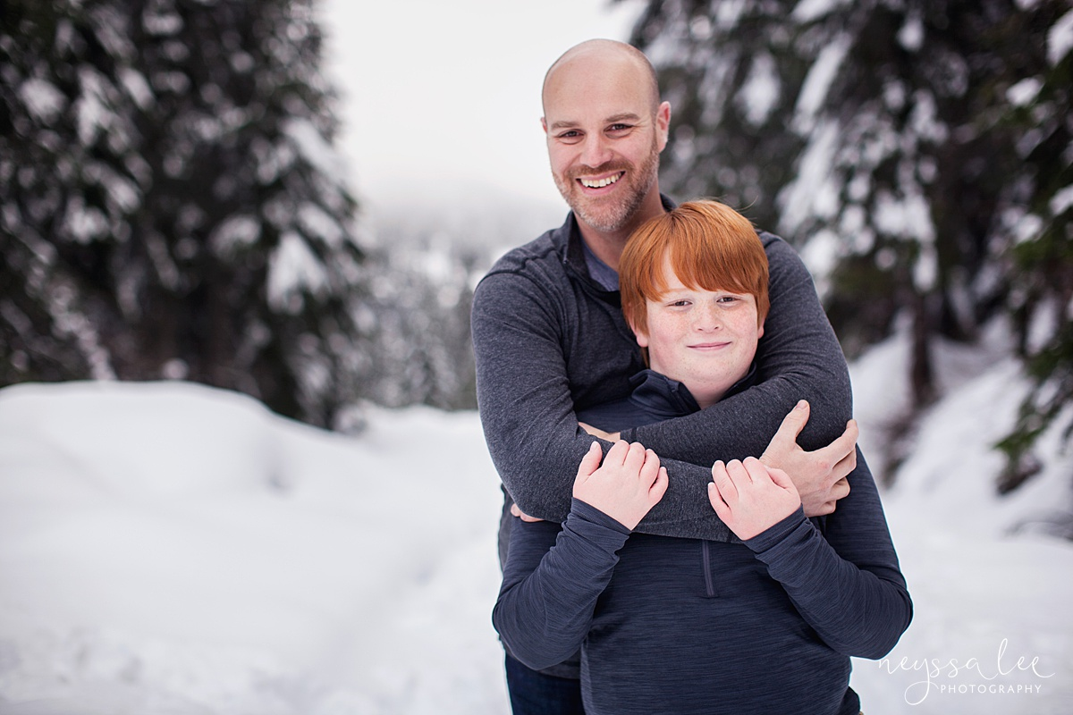 Neyssa Lee Photography, Snoqualmie Family Photographer, Family photos in the snow, Father and son
