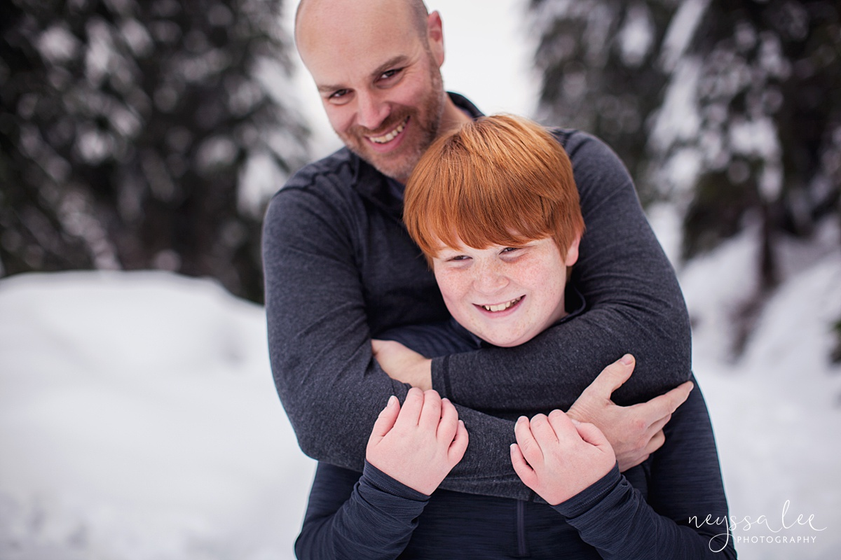 Neyssa Lee Photography, Snoqualmie Family Photographer, Family photos in the snow, Father and Son in the snow