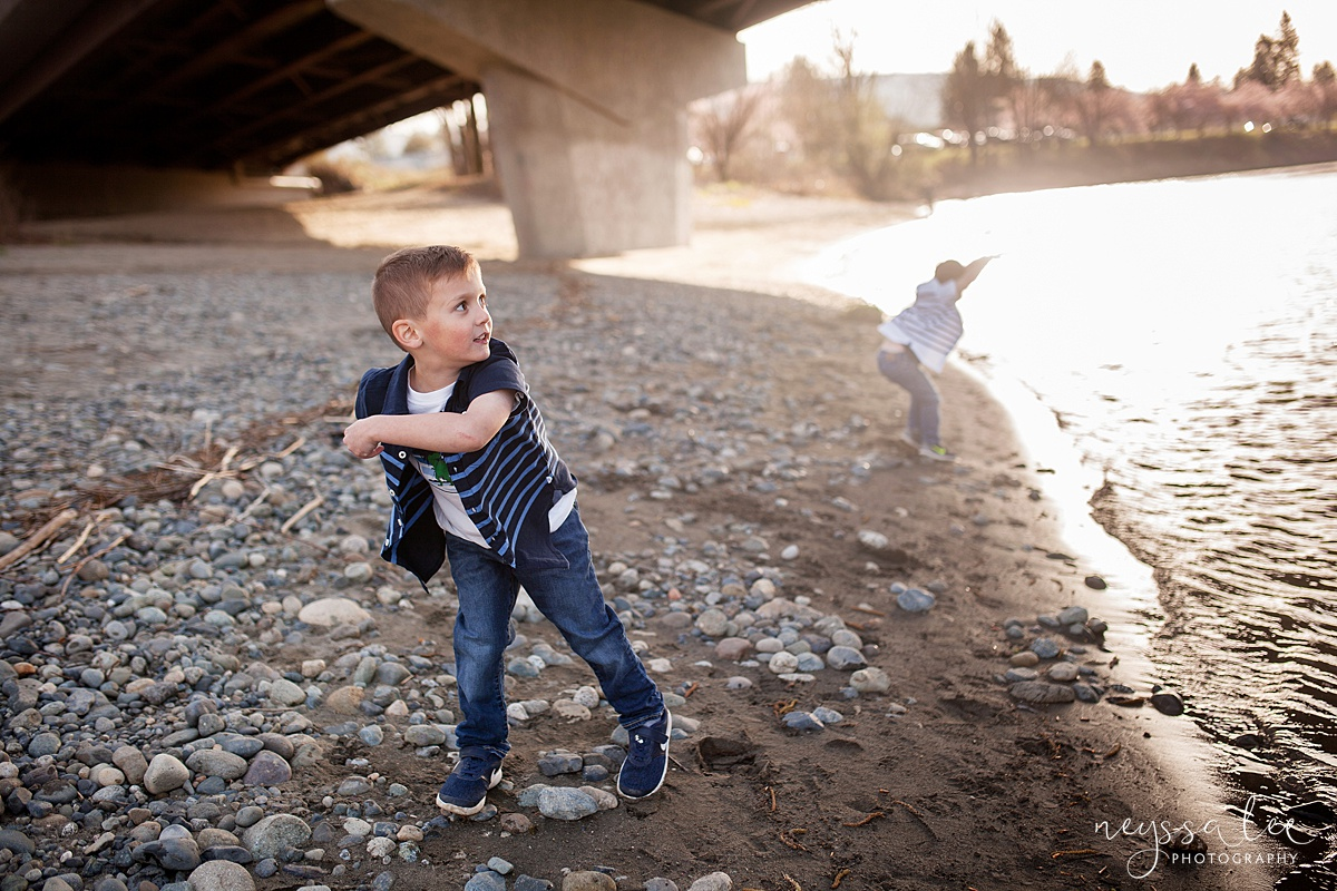 Family Photos by the River at Sunset, Neyssa Lee Photography, Snoqualmie Family Photography,  Boy throwing rocks