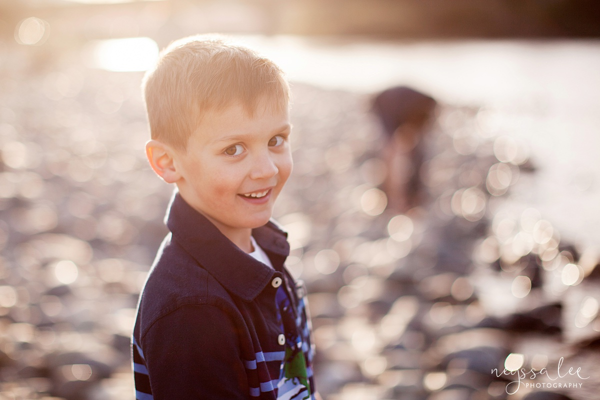 Family Photos by the River at Sunset, Neyssa Lee Photography, Snoqualmie Family Photography, Family of Four, Boy in beautiful hazy backlight