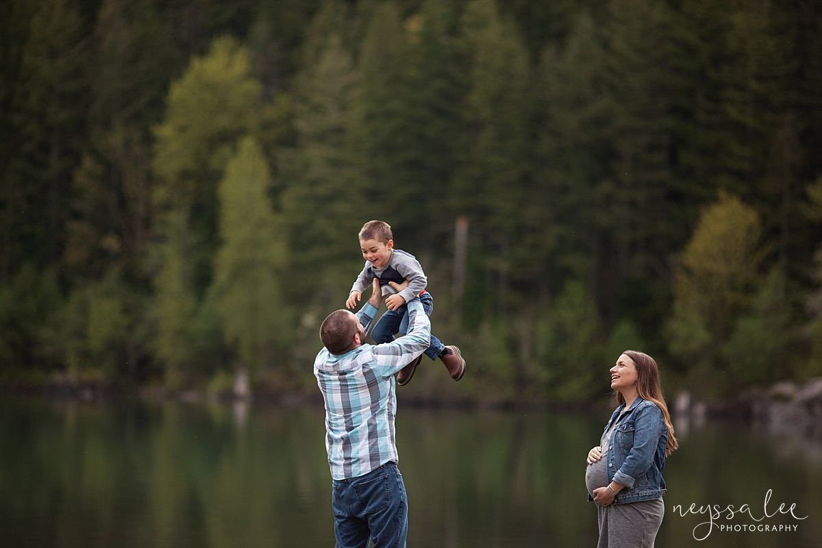 Maternity Session for each pregnancy, Snoqualmie Maternity Photographer, Neyssa Lee Photography, Dad tossing son up