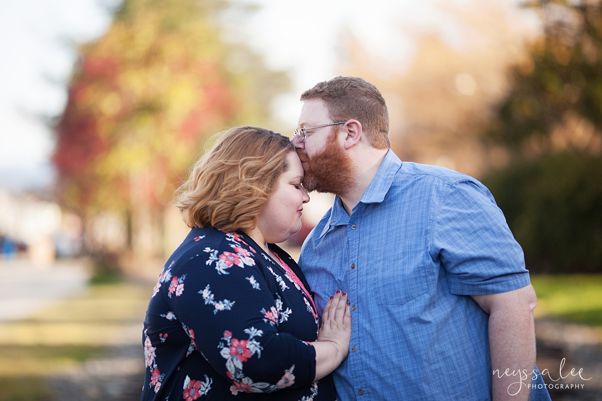 Photos for a 10 year anniversary, Snoqualmie Family Photography, Neyssa Lee Photography, Snoqualmie Train Station, Husband kisses wife