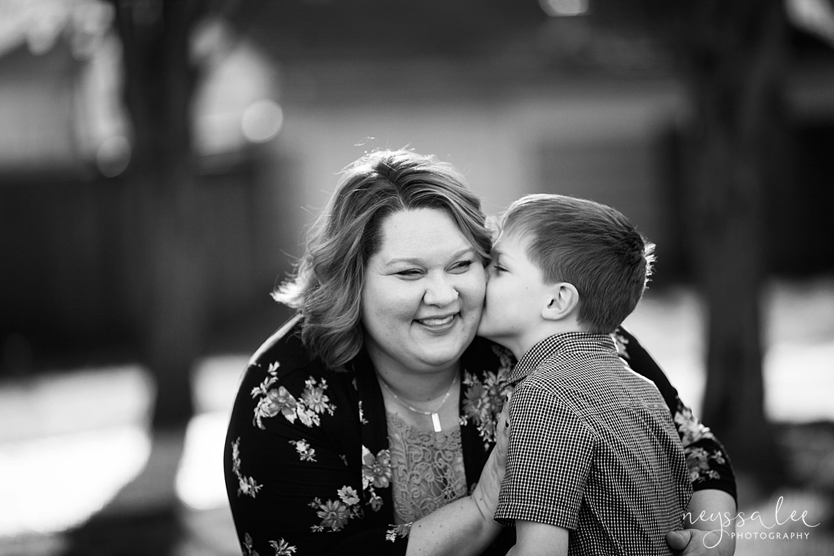 Photos for a 10 year anniversary, Snoqualmie Family Photography, Neyssa Lee Photography, Snoqualmie Train Station, Boy kisses mom