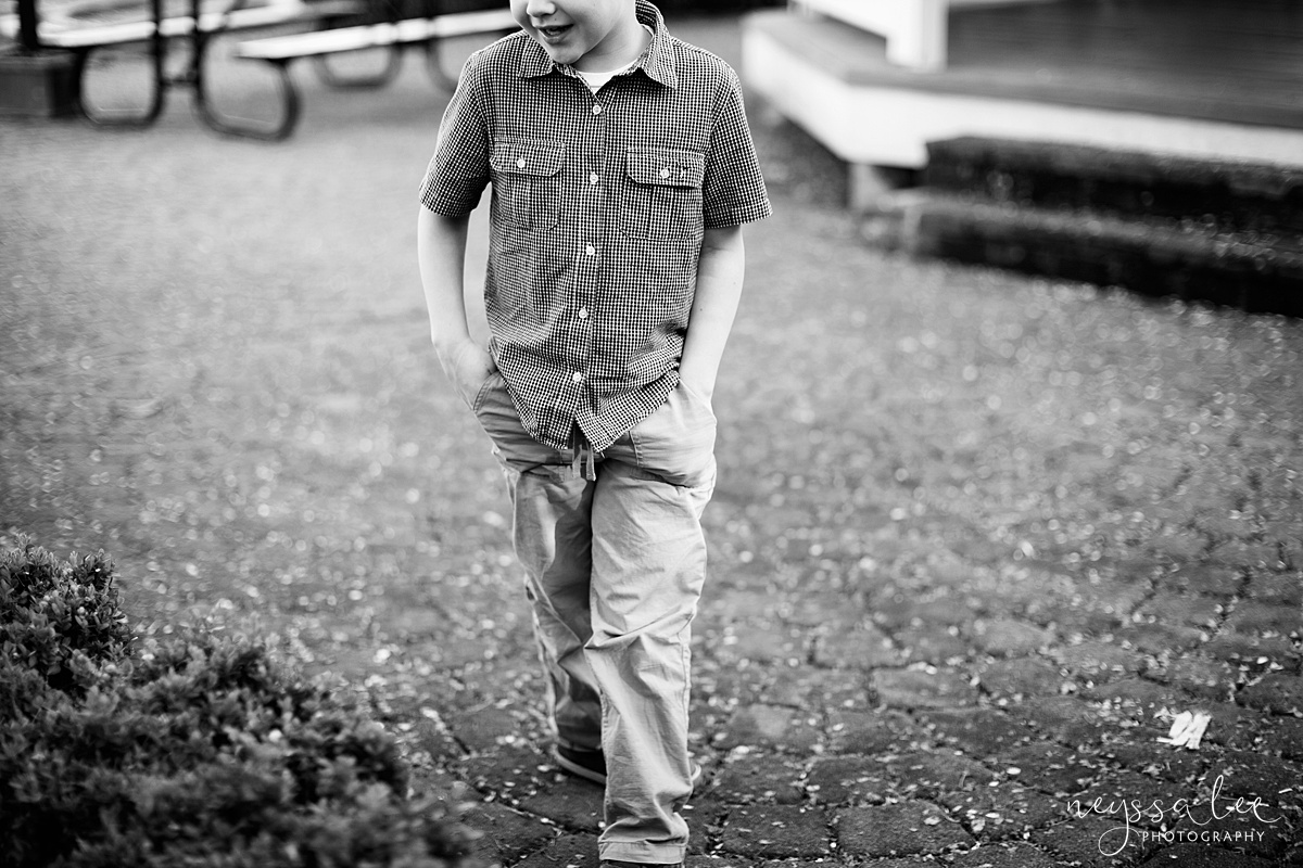 Photos for a 10 year anniversary, Snoqualmie Family Photography, Neyssa Lee Photography, Snoqualmie Train Station, boy walks with hands in pockets