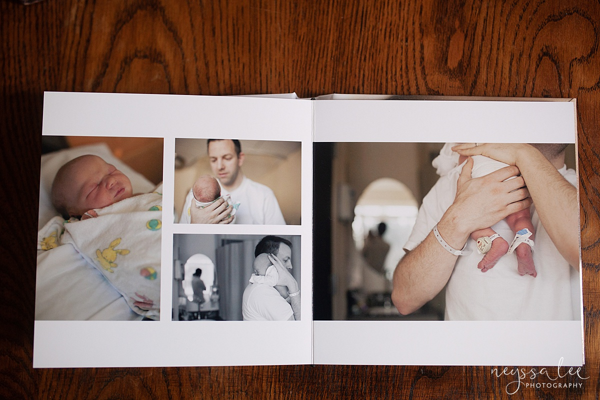 Custom Album with your photo session, Seattle Newborn Photographer,  Album Page Layout