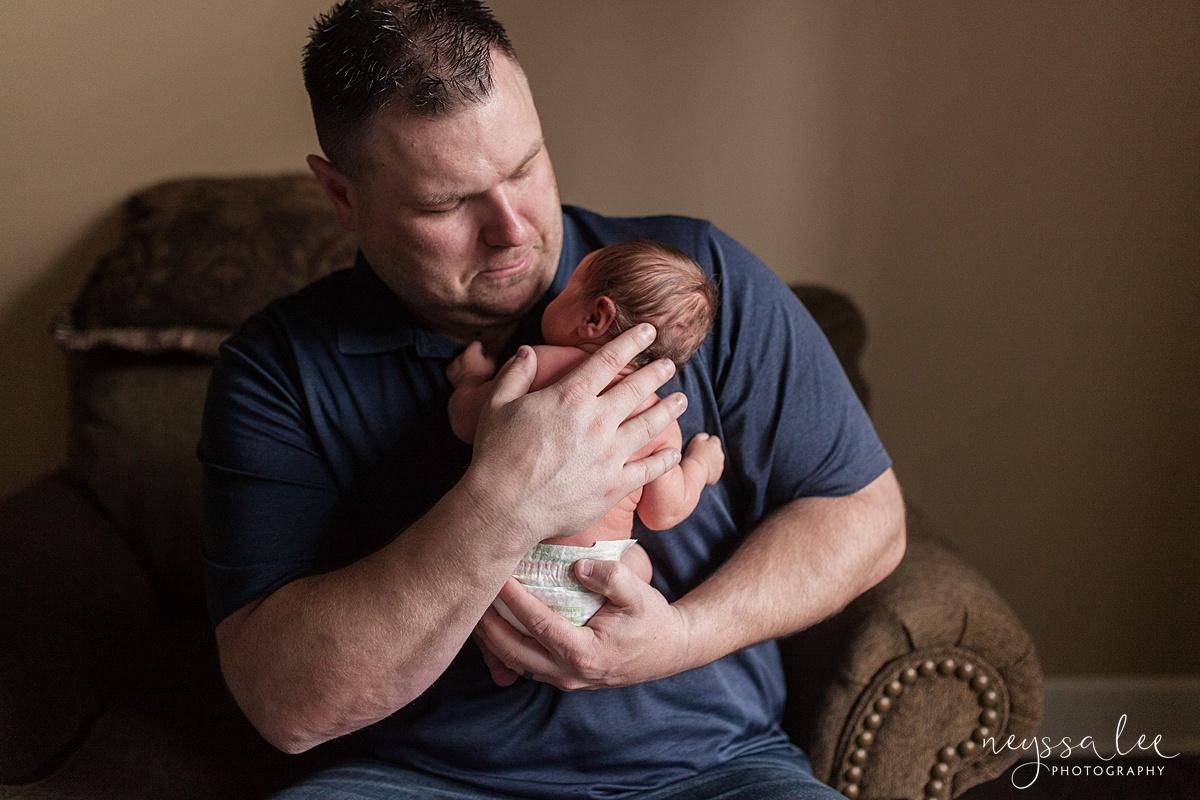 Neyssa Lee Photography, Awake newborn baby boy, lifestyle newborn photography, Seattle newborn photographer, Baby against dads chest