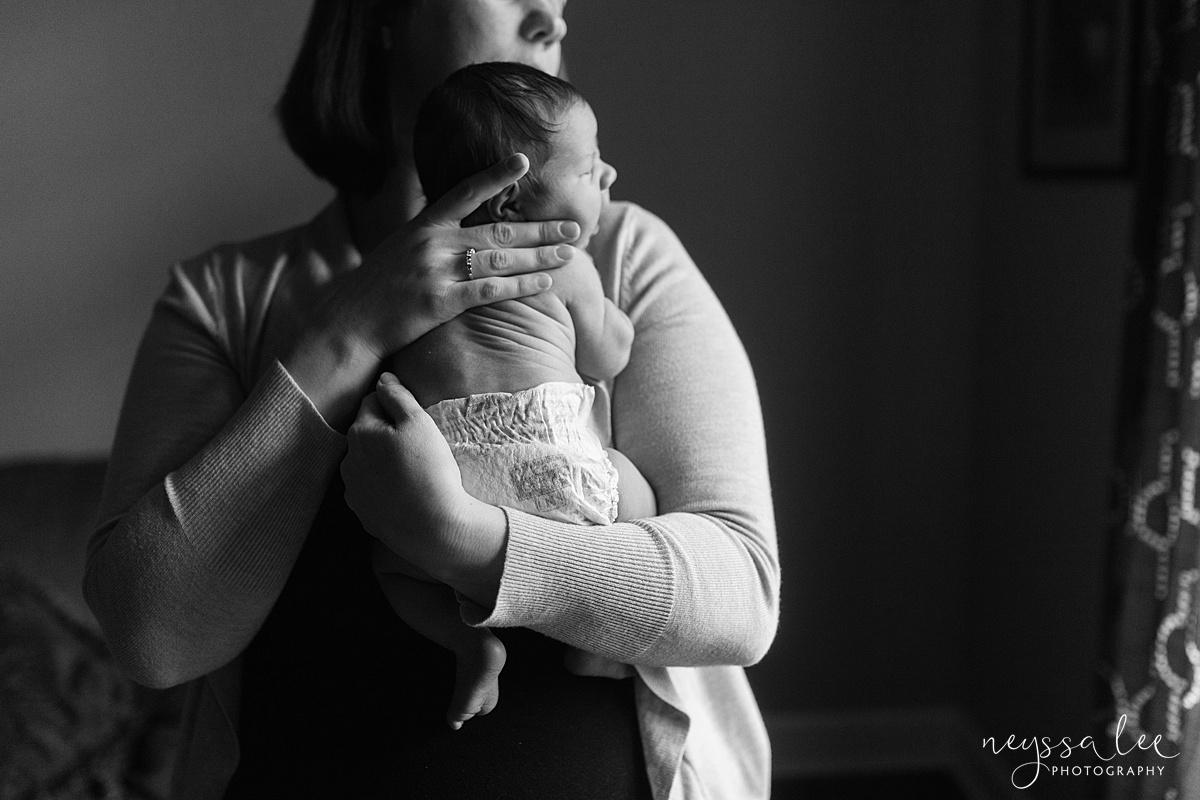 Neyssa Lee Photography, Awake newborn baby boy, lifestyle newborn photography, Seattle newborn photographer, mom and baby with natural window light