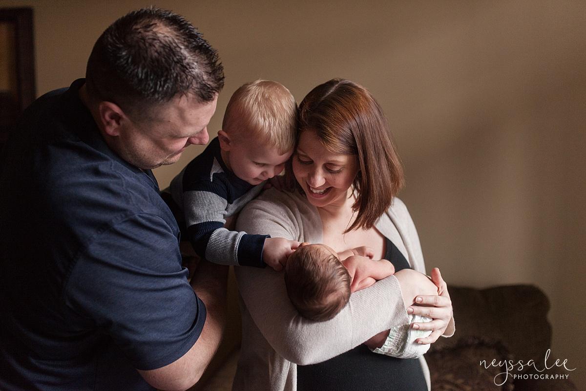 Neyssa Lee Photography, Awake newborn baby boy, lifestyle newborn photography, Seattle newborn photographer, Family snuggles newborn baby boy