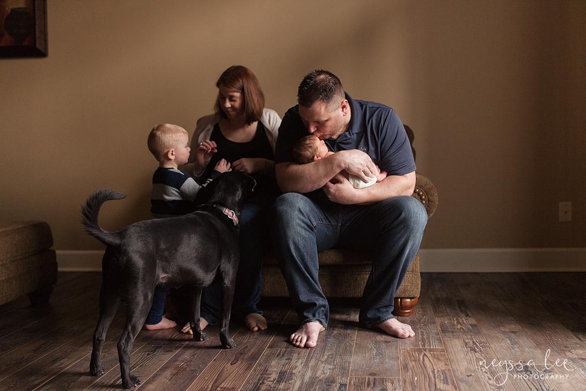 Neyssa Lee Photography, Awake newborn baby boy, lifestyle newborn photography, Seattle newborn photographer,  family with dog