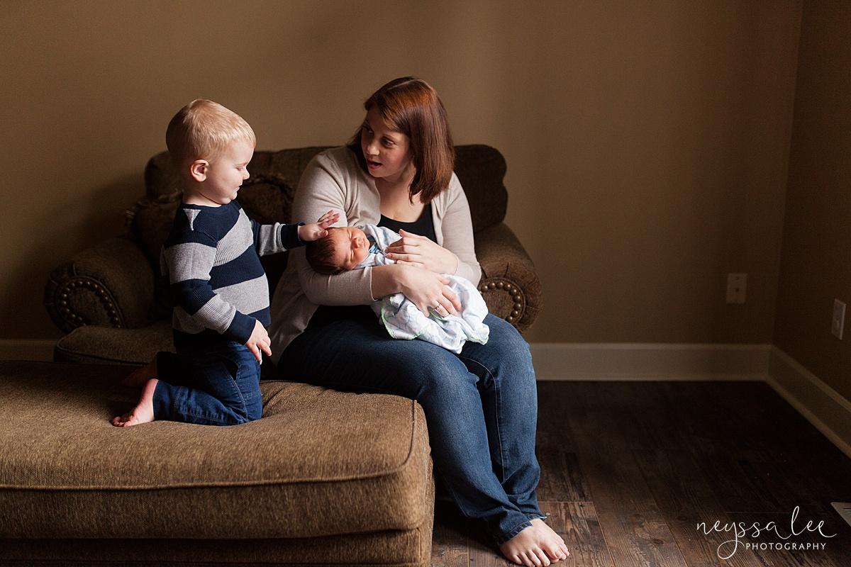 Neyssa Lee Photography, Awake newborn baby boy, lifestyle newborn photography, Seattle newborn photographer,  curious toddler boy