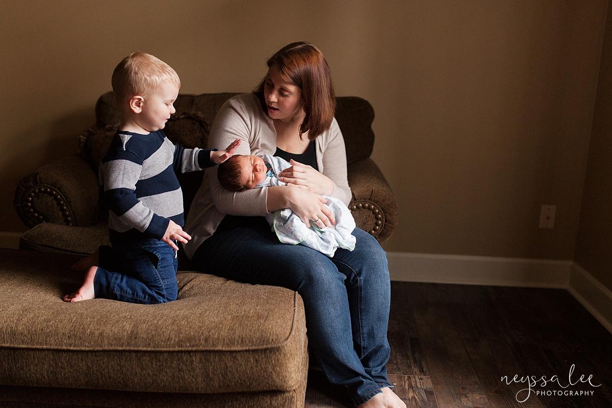 Neyssa Lee Photography, Awake newborn baby boy, lifestyle newborn photography, Seattle newborn photographer,  mom and two sons