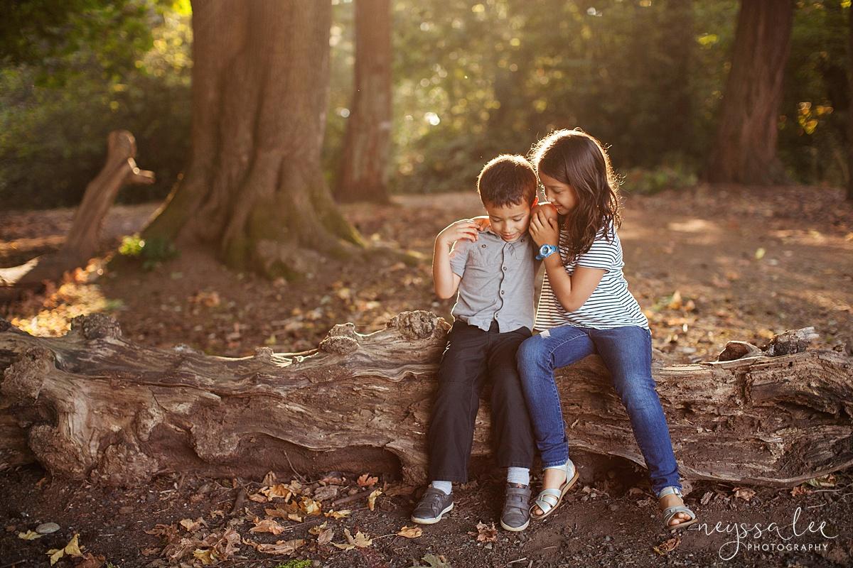 Neyssa Lee Photography, Seattle Family Photography, Family photos in the woods, family photos by the water, siblings telling secrets