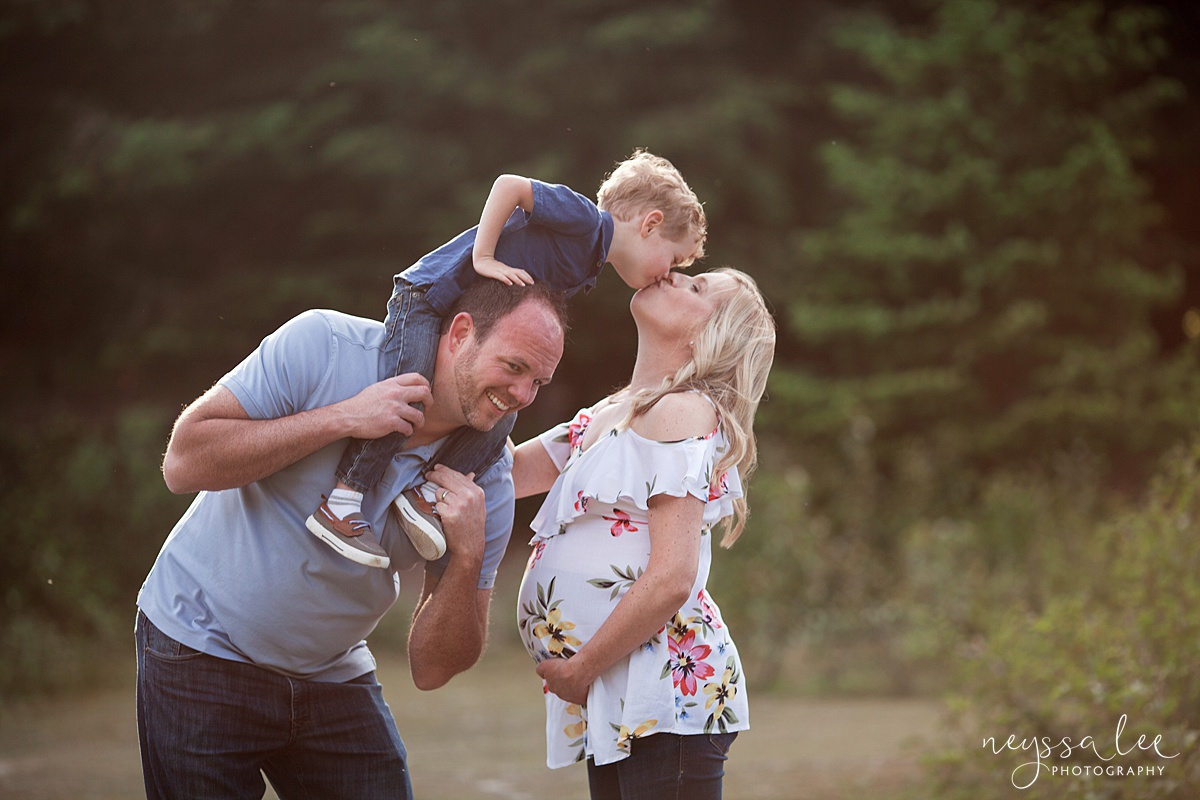 Maternity Photos in the Mountains, Gold Creek Pond, Neyssa Lee Photography, Snoqualmie Family Photographer, Mom gives boy a kiss