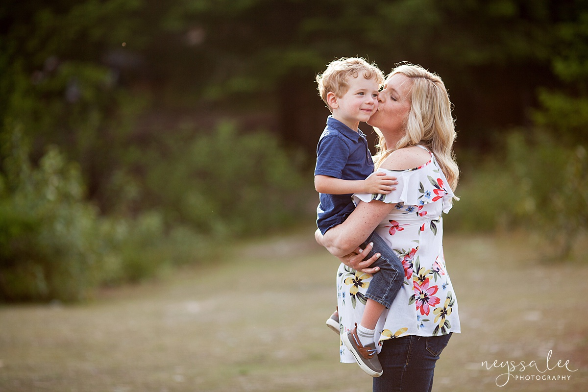 Maternity Photos in the Mountains, Gold Creek Pond, Neyssa Lee Photography, Snoqualmie Family Photographer, Pregnant Mom holding son