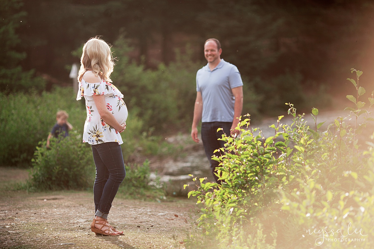 Maternity Photos in the Mountains, Gold Creek Pond, Neyssa Lee Photography, Snoqualmie Family Photographer, Husband and wife sweet moment