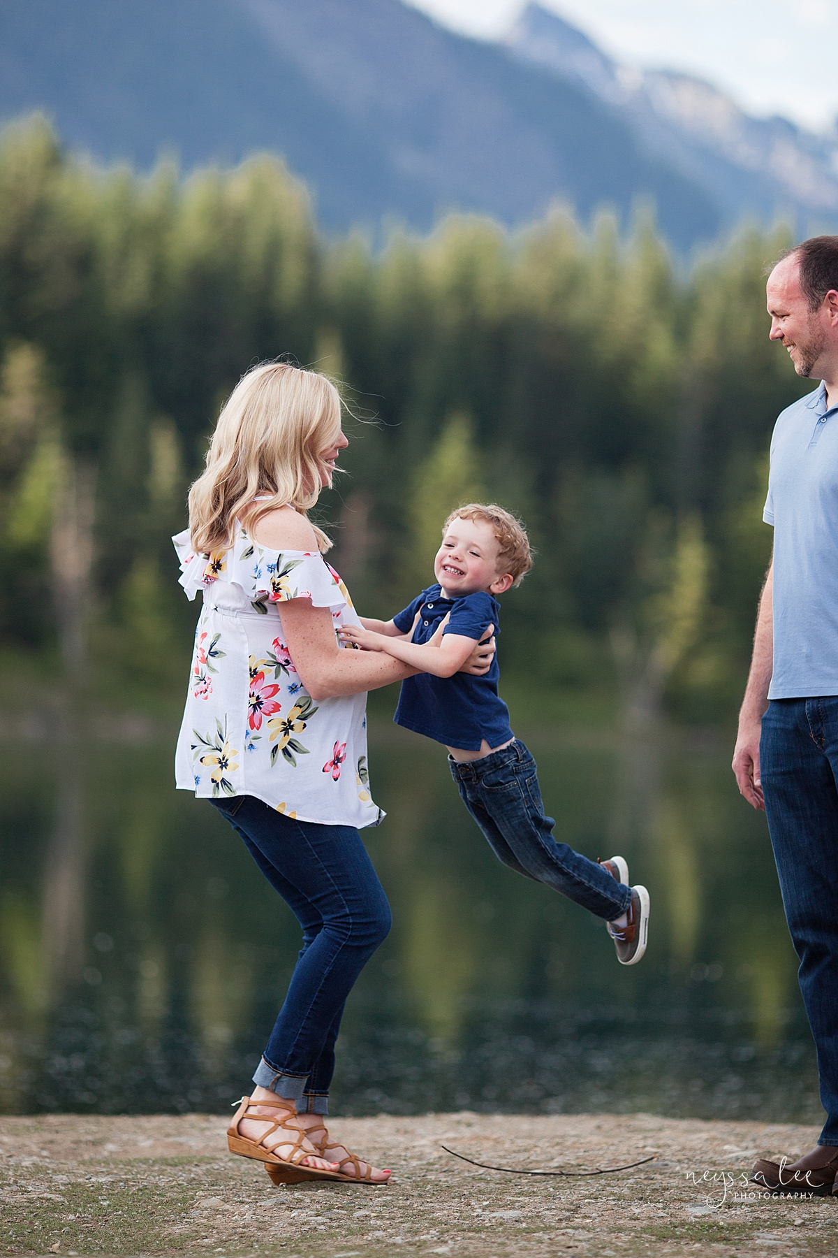 Maternity Photos in the Mountains, Gold Creek Pond, Neyssa Lee Photography, Snoqualmie Family Photographer, Pregnant Mom spins with son
