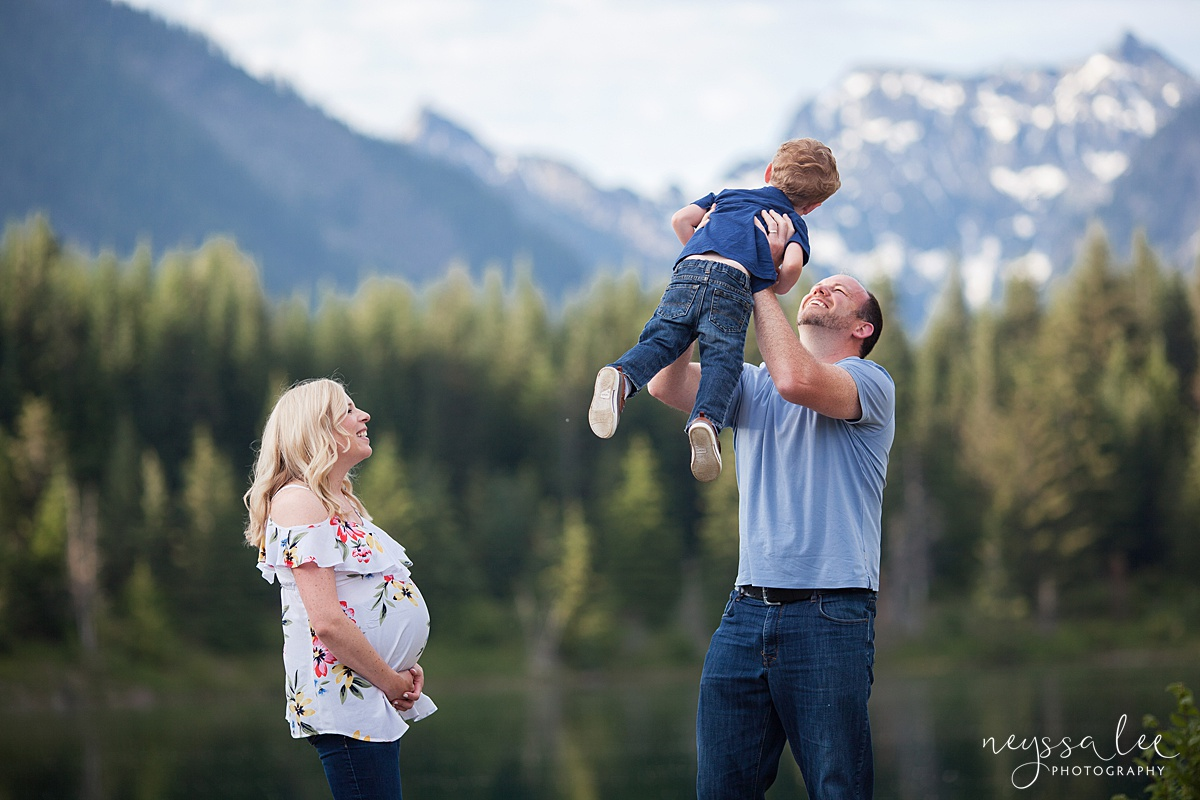 Maternity Photos in the Mountains, Gold Creek Pond, Neyssa Lee Photography, Snoqualmie Family Photographer, Dad tosses son into the air