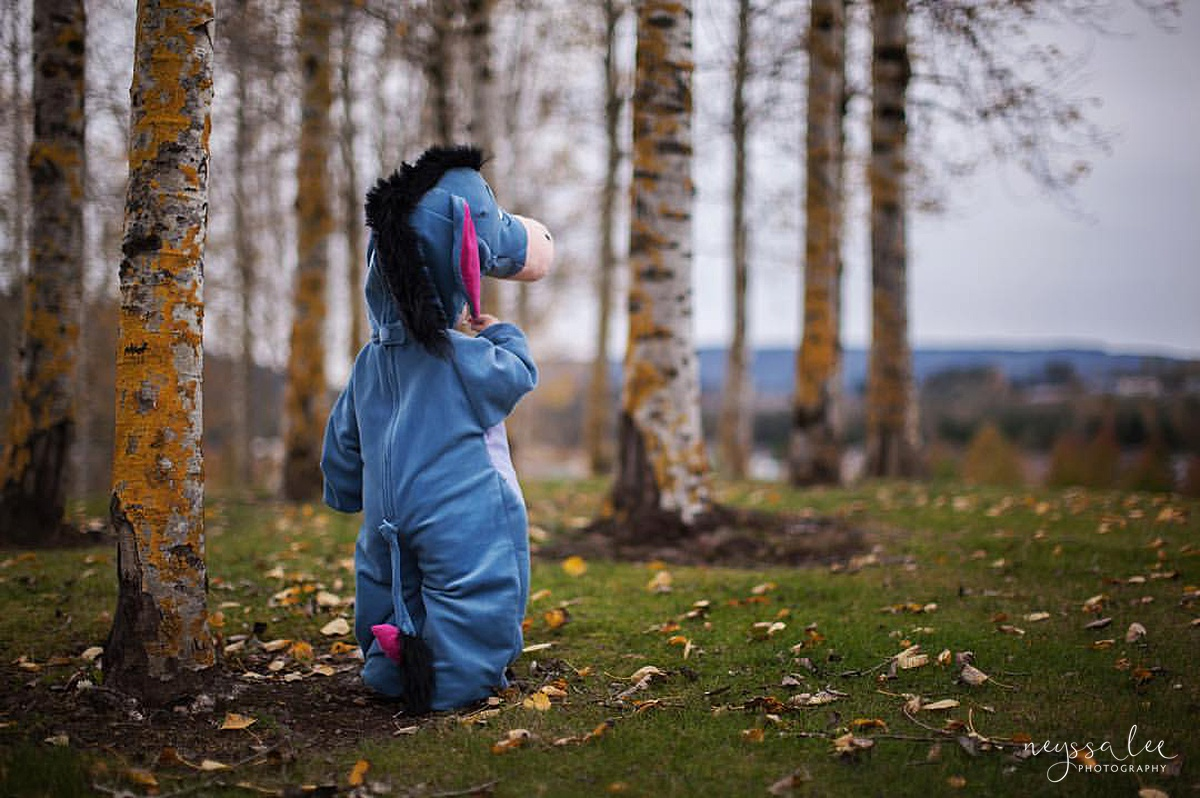 5 Tips for Magical Halloween Photos, Photo Tips, Neyssa Lee Photography, Eeyore Costume, 100 acre wood