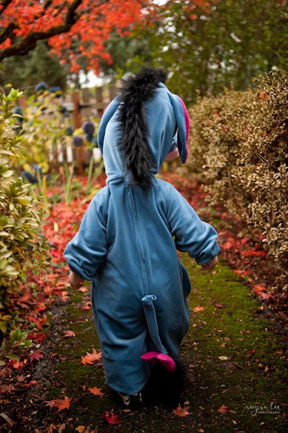 5 Tips for Magical Halloween Photos, Photo Tips, Neyssa Lee Photography, Eeyore Costume, Toddler walking in Halloween Costume