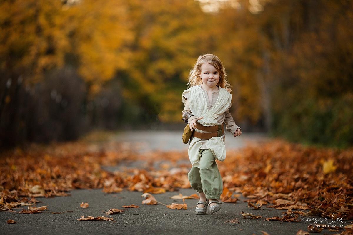 5 Tips for Magical Halloween Photos, Neyssa Lee Photography, Photo Tips, Rey costume, girl running