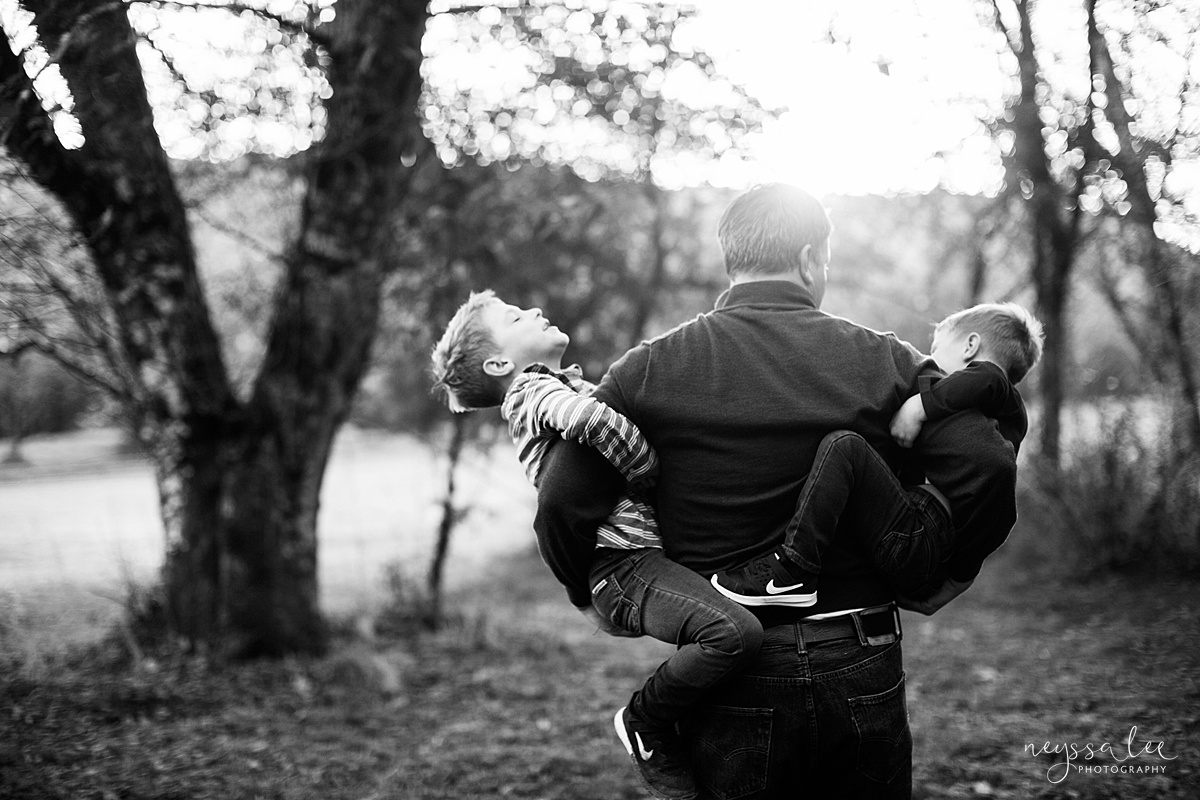 Snoqualmie Family Photographer, Neyssa Lee Photography, Fall Family Photos, Change of perspective on family photos, dad with his boys