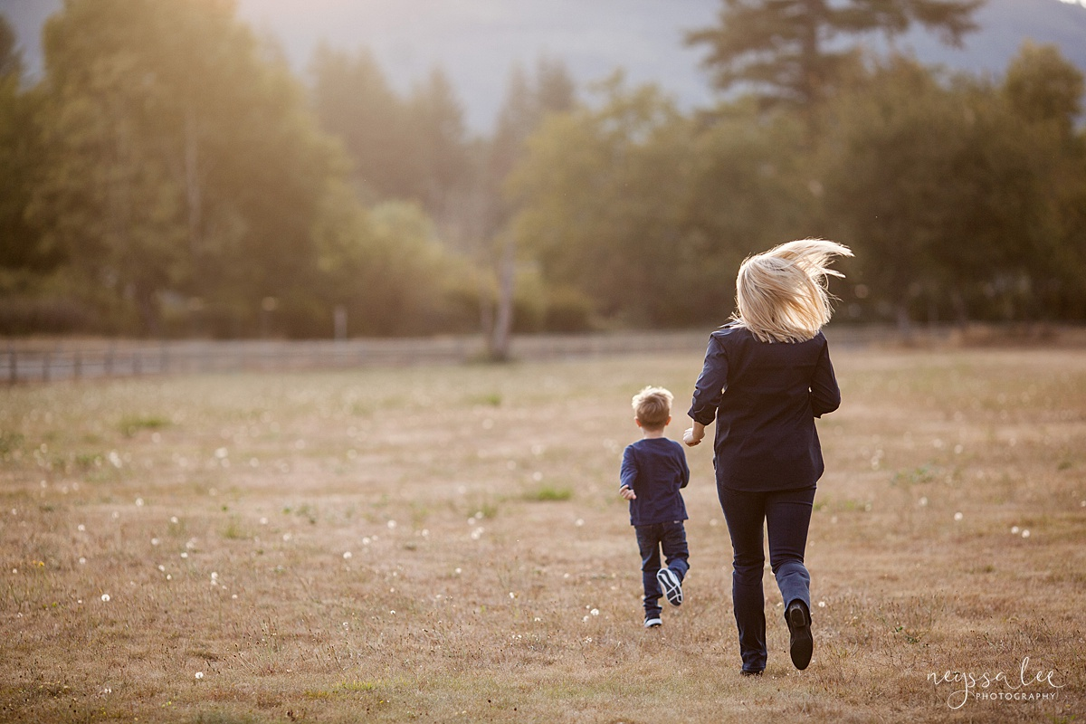 Snoqualmie Family Photographer, Neyssa Lee Photography, Fall Family Photos, Change of perspective on family photos, mom chases son