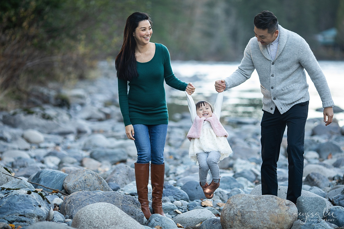 Neyssa Lee Photography, Seattle Lifestyle Family Photographer,  Photo of Mom and dad swinging girl by the river