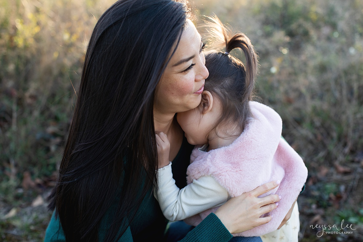 Neyssa Lee Photography, Seattle Lifestyle Family Photographer,  intimate photo of toddler girl hugging her mom