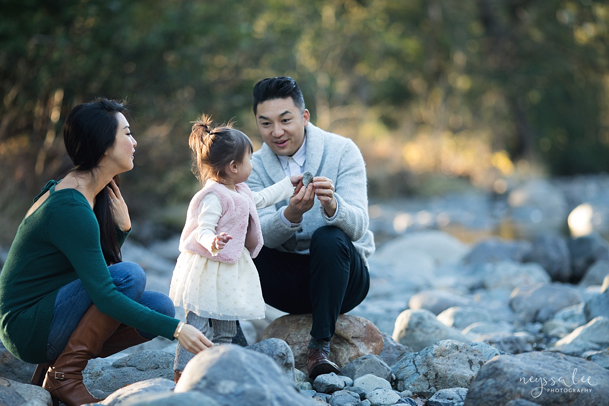 Neyssa Lee Photography, Seattle Lifestyle Family Photographer,  Photo of family throwing rocks by the river