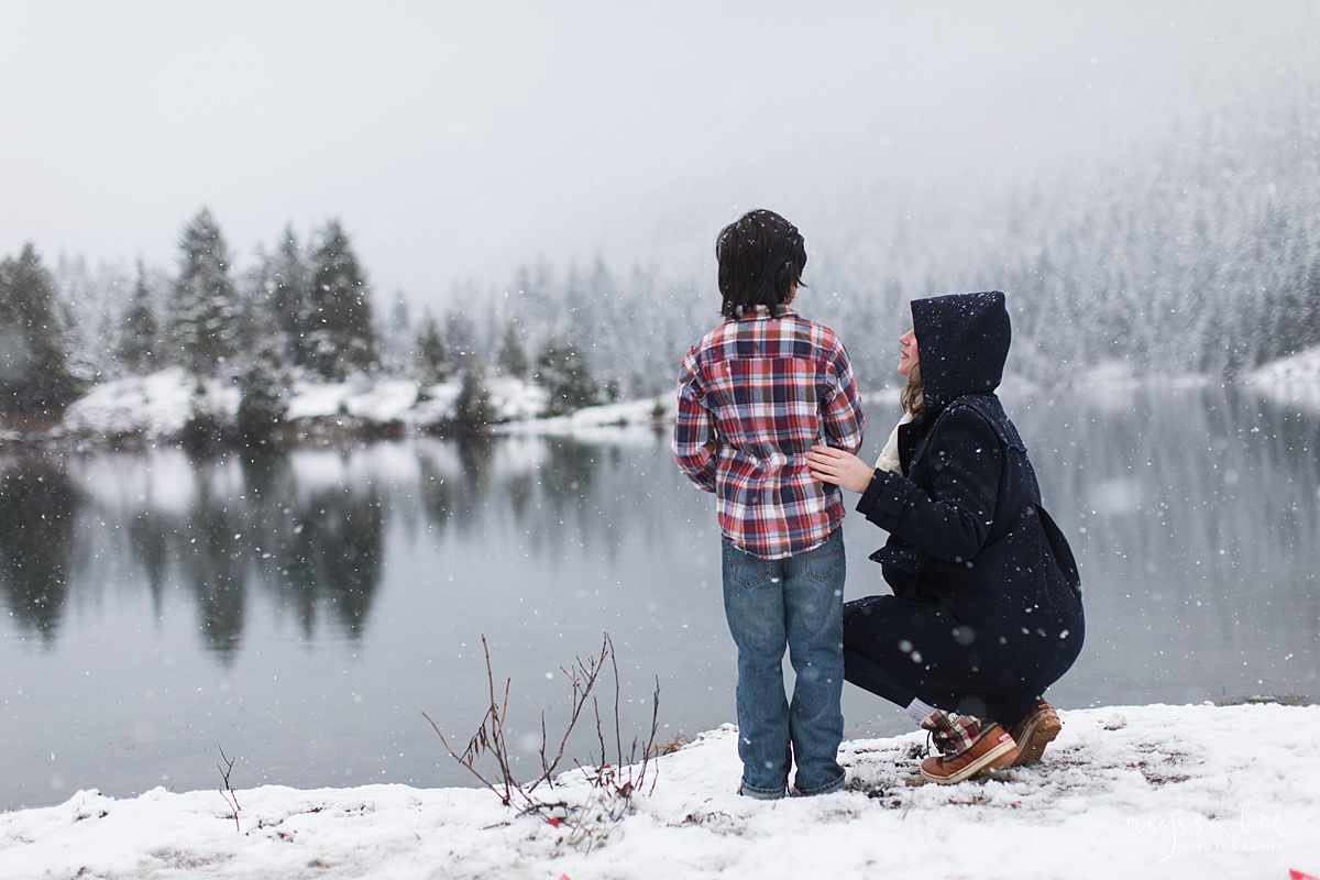 Moms Need to Get in the Photo, Neyssa Lee Photography, Seattle Family Photographer, Mother and Son  watching the snowfall
