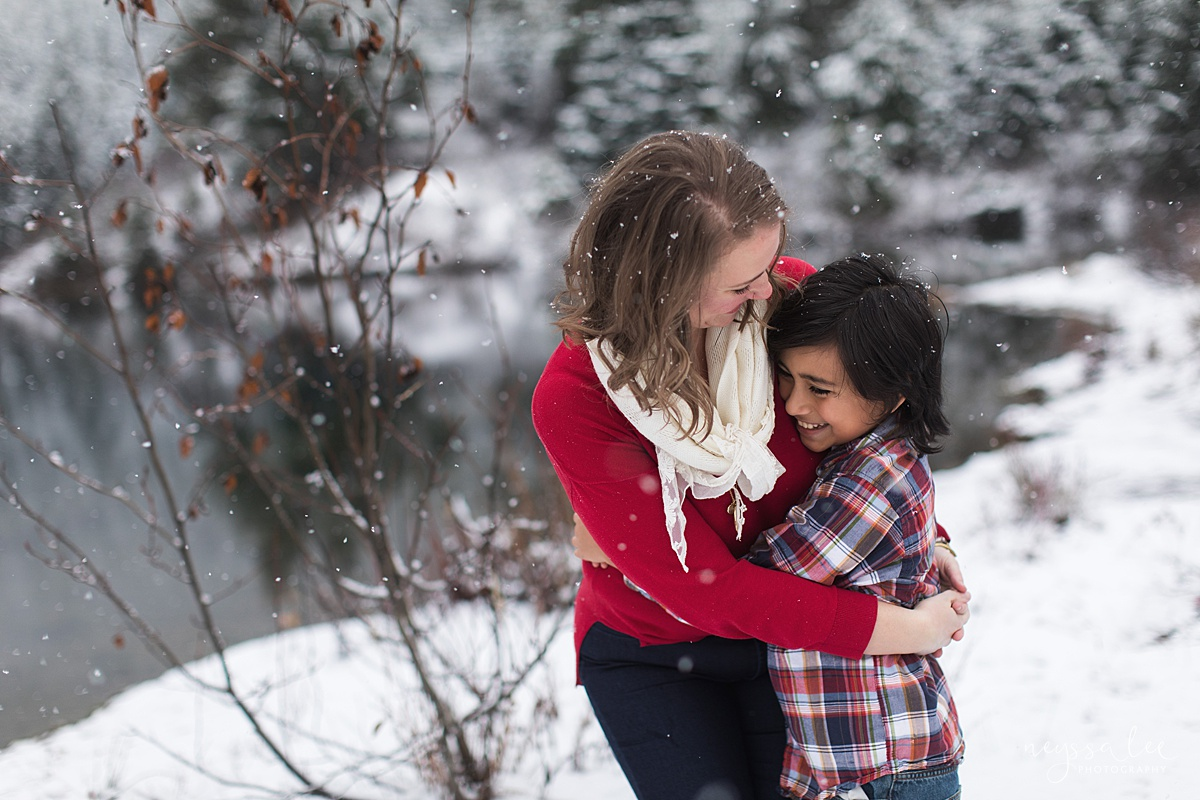 Moms Need to Get in the Photo, Neyssa Lee Photography, Seattle Family Photographer, Mother and Son hugging in the snow