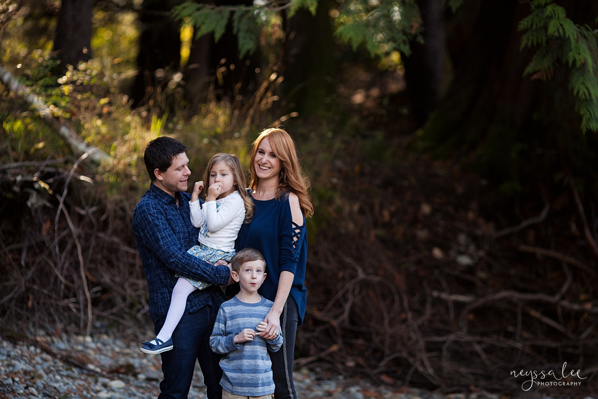 Neyssa Lee Photography, Photo of family of four standing together, lifestyle family photography, Seattle Family Photographer