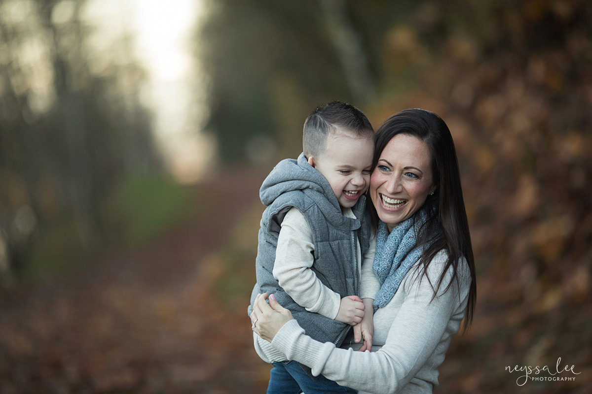 Neyssa Lee Photography, Snoqualmie Family Photographer, Large family photo, Lifestyle photo of mother and son laughing together