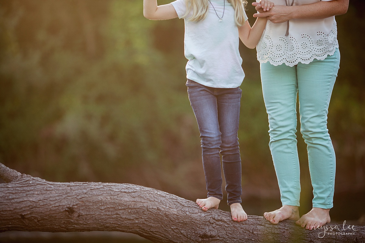 Neyssa Lee Photography, Snoqualmie Family Photographer, Seattle Family Photography, Family Photos in Summer, Photo of barefoot mom and daughter walking on a log