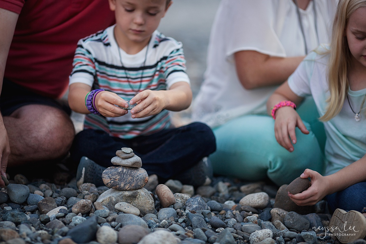 Neyssa Lee Photography, Snoqualmie Family Photographer, Seattle Family Photography, Family Photos in Summer, Photo of boy building rock tower