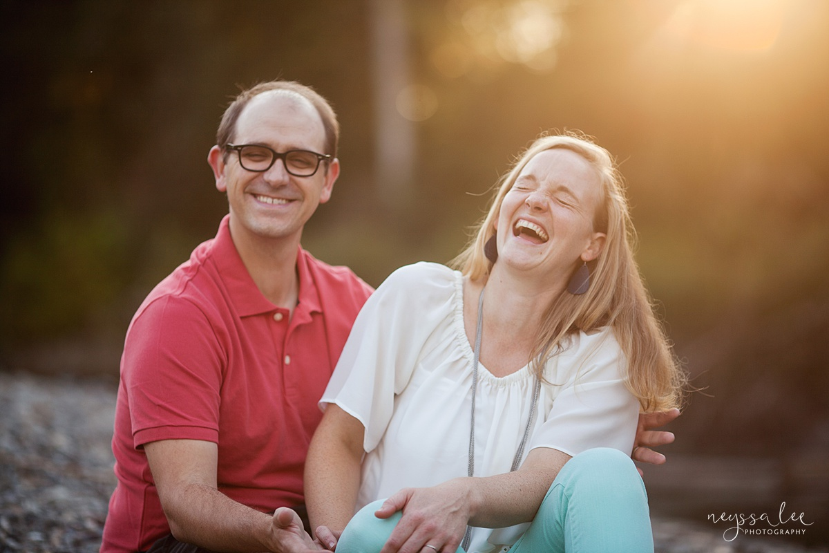 Neyssa Lee Photography, Snoqualmie Family Photographer, Seattle Family Photography, Family Photos in Summer, Photo of husband and wife laughing together