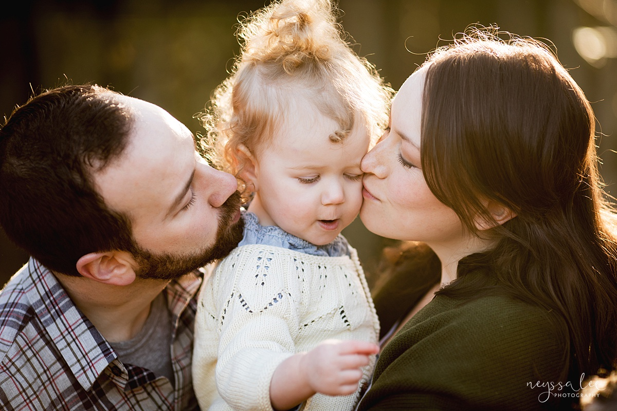 Tips to Rock Your Maternity Session, Neyssa Lee Photography, Seattle Maternity Photographer, Issaquah Newborn Photographer, Photo of mom and dad kissing their toddler girl