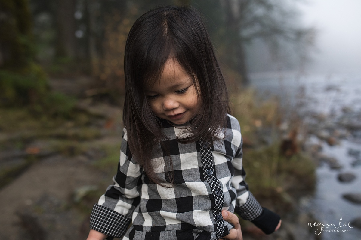 Neyssa Lee Photography, Snoqualmie Family Photographer, Family Photos for Shy Kids, Portrait of a shy girl