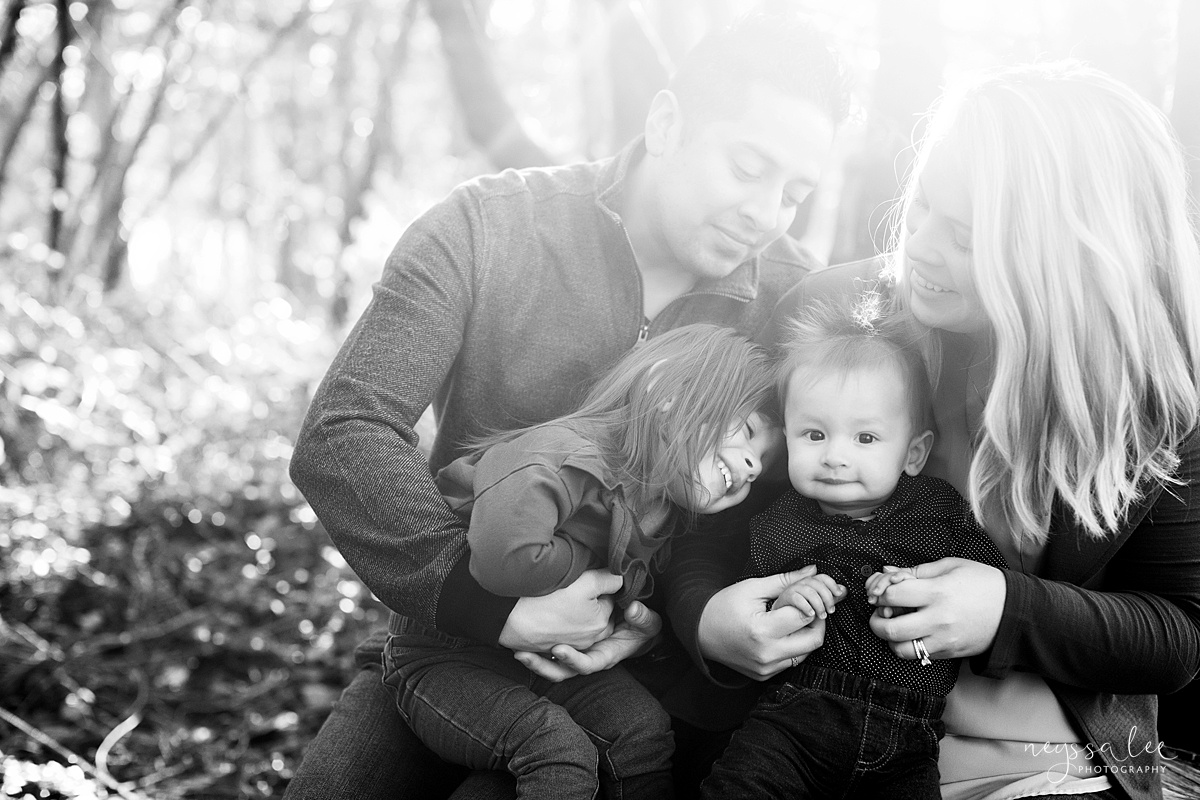 Uncooperative Kids During Family Photos, Neyssa Lee Photography, Seattle Family Photographer, Issaquah Photography, Hazy black and white photo of family snuggled together