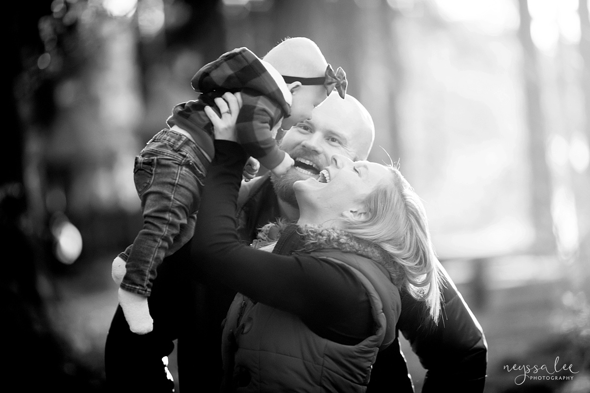 Best Age to Photograph Baby, Neyssa Lee Photography, Seattle Baby Photographer, Black and white photo of mom and dad playing with baby girl