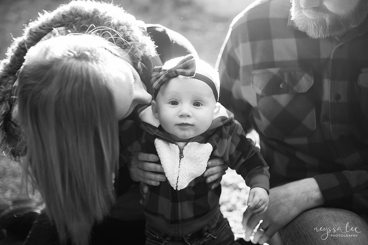 Best Age to Photograph Baby, Neyssa Lee Photography, Seattle Baby Photographer, Black and white photo of baby girl surrounded by mom and dad