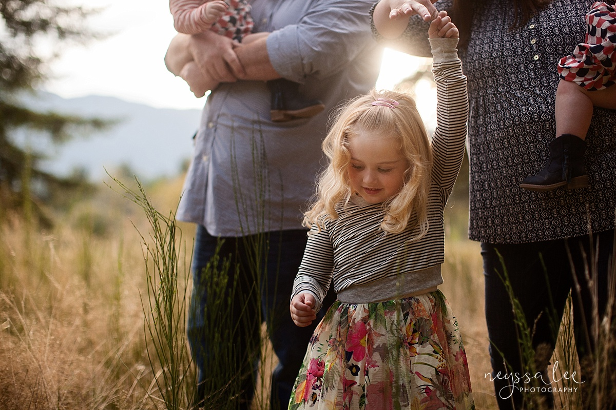 Family Photos in Fall, Neyssa Lee Photography, Seattle Family Photographer, Photo of girl twirling in fall sunset