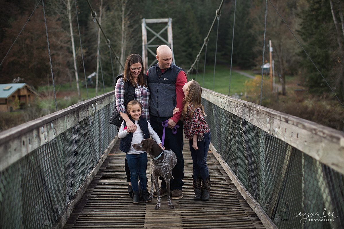 Location for family photos, Neyssa Lee Photography, Seattle Family Photographer, Bellevue Photography, Photo of family with their dog on a bridge