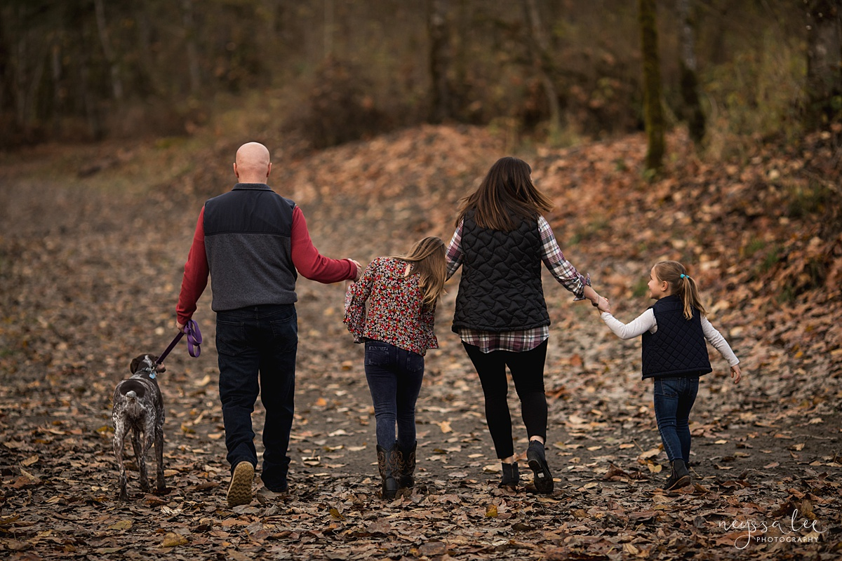 Location for family photos, Neyssa Lee Photography, Seattle Family Photographer, Bellevue Photography, Photo of family walking in fall leaves