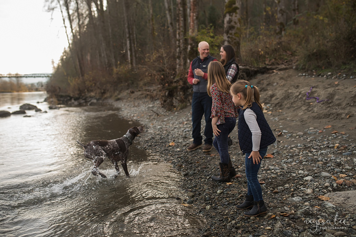 Location for family photos, Neyssa Lee Photography, Seattle Family Photographer, Bellevue Photography, Photo of family throwing rocks into the river