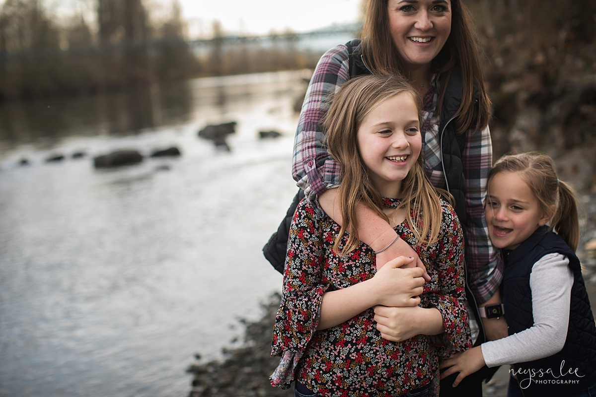 Location for family photos, Neyssa Lee Photography, Seattle Family Photographer, Bellevue Photography, Photo of mom and daughters by the water