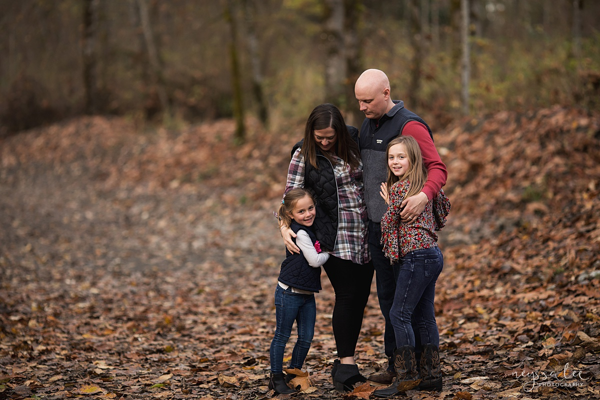 Location for family photos, Neyssa Lee Photography, Seattle Family Photographer, Bellevue Photography, Lifestyle photo of family in fall color
