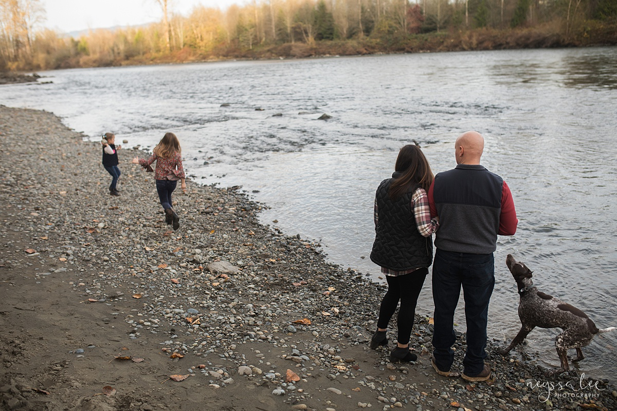 Location for family photos, Neyssa Lee Photography, Seattle Family Photographer, Bellevue Photography, Photo of parents watching their kids play at the river
